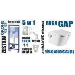 Zestaw podtynkowy WC GROHE Rapid SL 5 w 1 SKATE + miska ROCA GAP + DESKA WOLNOOPADAJĄCA ROCA GAP 801472