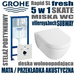 38827 Zestaw podtynkowy WC GROHE Rapid SL 5 w 1 SKATE + miska VILLEROY&BOCH SUBWAY 2.0 z deska wolnoopadającą  + MATA AKUSTYCZNA